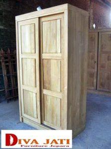 Lemari Pakaian Jati Bandung 2 Pintu Sliding Terbaru