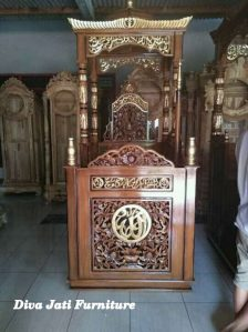 Mimbar Masjid Jogja Ukiran Kaligrafi Kayu Jati