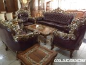 Kursi Tamu Madura Mewah Ukiran Model Sofa Merah Maron