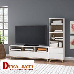Meja Rak Tv Madura Putih Duco Kayu Jati Minimalis Modern