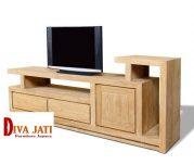 Meja Tv Bekasi Desain Minimalis Kayu Jati Berlaci