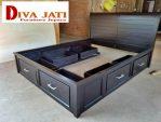 Tempat Tidur Surabaya Model 6 Laci Kayu Jati Warna Hitam