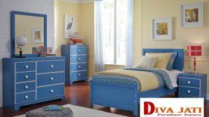 Kamar Set Anak Denpasar Minimalis Warna Biru Modern
