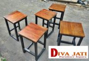Kursi Cafe Bogor Kayu Jati Model Kotak Kaki Besi Minimalis