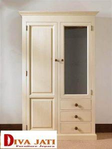 Lemari Pakaian Sukabumi Warna Putih Dua Pintu Minimalis