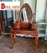 Meja Rias Cirebon Kayu Jati Minimalis Model Kaca Bundar Modern