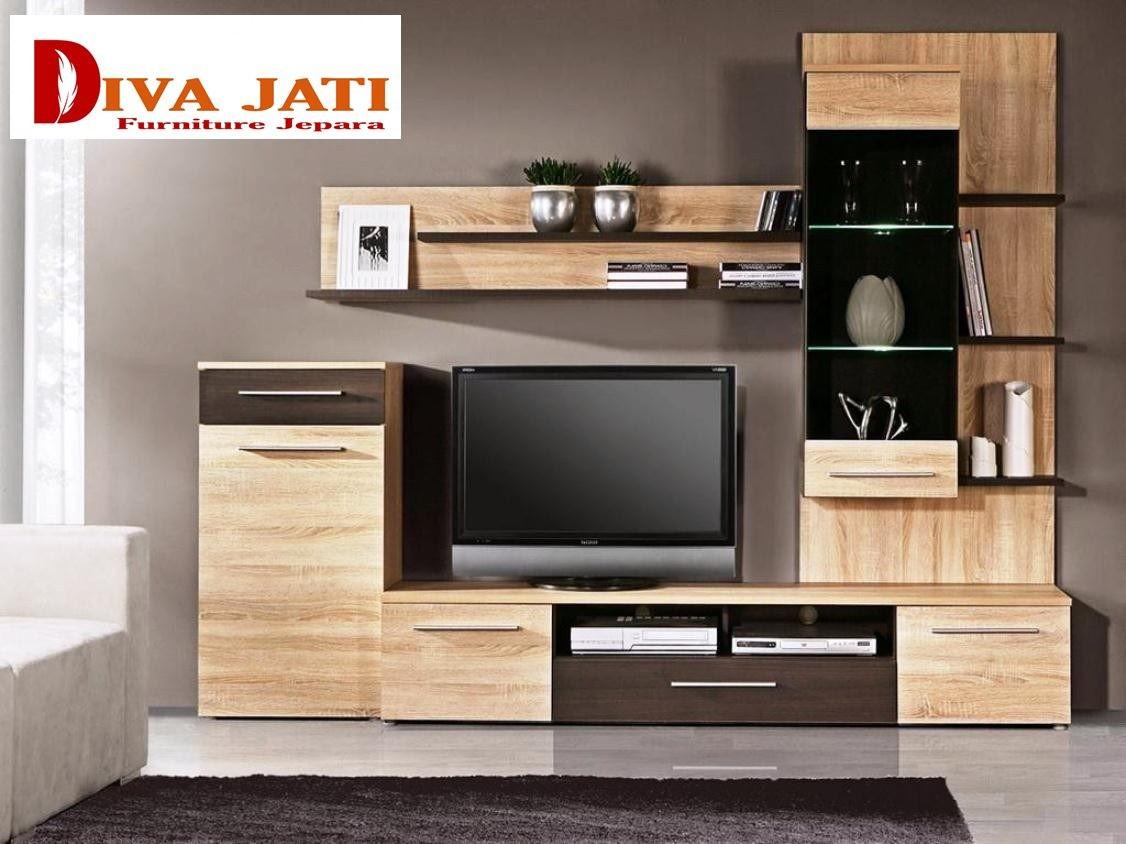 Meja Tv Malang Desain Minimalis Kayu Jati Berlaci