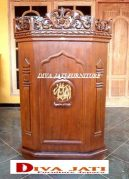 Mimbar Masjid Makasar Model Podium Ukiran Jati Minimalis