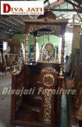 Mimbar Masjid Bandung Kayu Jati Ukiran Arab Desain Kubah