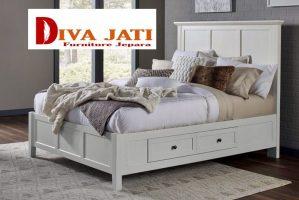 Tempat Tidur Laci Bogor Desain Minimalis Putih Duco