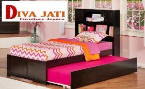 Tempat Tidur Sorong Jakarta Kayu Jati Minimalis Warna Hitam
