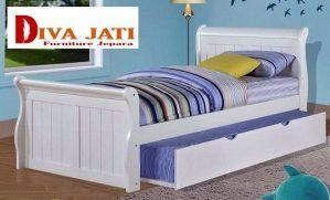 Tempat Tidur Sorong Kayu Jati Minimalis Warna Natural Murah
