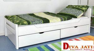 Tempat Tidur Laci Minimalis Warna Putih Duco