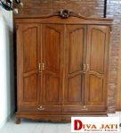 Lemari Pakaian Kayu Jati Minimalis 4 Pintu Berlaci