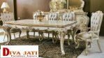 Meja Makan Putih Duco Mewah Ukiran