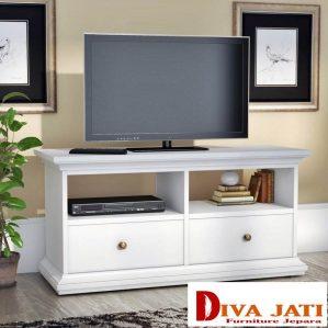 Meja Tv Bandung Minimais Putih Duco 2 Laci
