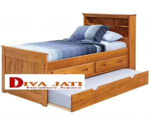 Tempat Tidur Sorong Bogor Minimalis Kayu Jati