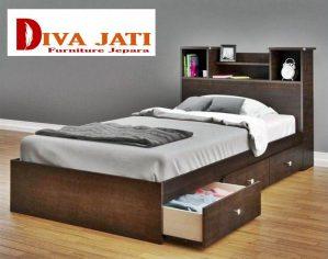 Tempat Tidur Surabaya Berlaci Minimalis Warna Hitam