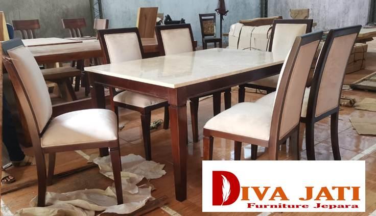 set meja makan marmer warna putih