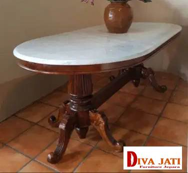 Meja Makan Marmer Oval Klasik Kayu Jati
