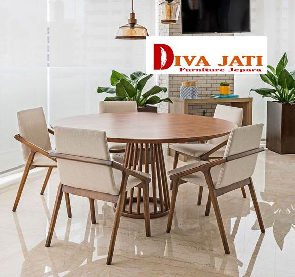 set meja makan bulat bundar cafe kayu jati minimalis